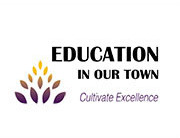"Education in our Town Logo, shows a little schoolhouse with Caro written on it and the words ""Education In Our Town"""